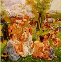 Leon Frederic, Morgen - handgemaltes Ölbild, gemalt nach Vorlage in 60x60cm