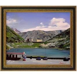 Bergsee -Passo Italien, handgemaltes Ölbild in 50x60cm