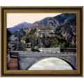 alte italienische Stadt, handgemaltes Ölbild in 50x60cm