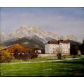 Schloss Dorfheim Saalfelden, handgemaltes Ölbild in 50x60cm