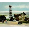 Stadttheater in Salzburg, handgemaltes Ölbild in 50x60cm