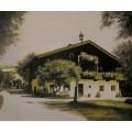 altes Bauernhaus in Saalfelden, handgemaltes Ölbild in 50x60cm