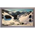 Saalbach im Winter, handgemaltes Ölbild in 50x90cm