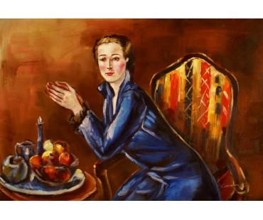 Faistauer Anton - Dame in blauen Kleid - handgemaltes Ölbild in 50x70cm nach einer Motivvorlage v. Anton Faistauer