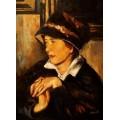 Faistauer Anton - Dame mit schwarzem Hut - handgemaltes Ölbild in 50x60cm nach einer Motivvorlage v. Anton Faistauer
