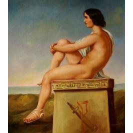 Flandrin Hippolyte Jean - Polites Sohn - handgemaltes Ölbild nach einer Vorlage v.Flandrin in 50x60cm
