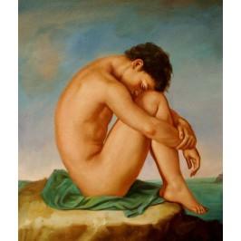 Flandrin Hippolyte Jean - Junger Mann an der Küste - handgemaltes Ölbild
