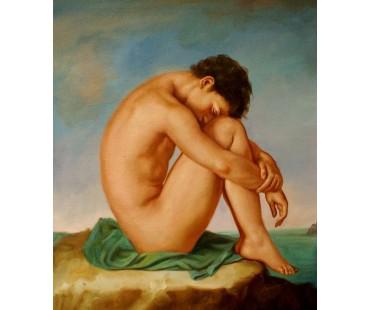 Flandrin Hippolyte Jean - Junger Mann an der Küste - handgemaltes Ölbild nach einer Vorlage v.Flandrin in 50x60cm