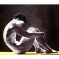 Männerakt, sitzender erotischer junger Mann Mann - handgemaltes Ölbild , gemalt nach einer Vorlage in 50x60cm