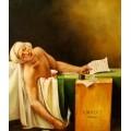 der ermordete Marat, handgemaltes Ölbild, gemalt nach einer Motivvorlage v. Jacques Louis David
