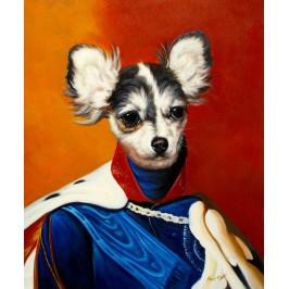 Chihuahua Hund im Kleid, handgemaltes Ölbild