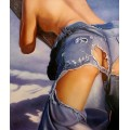Frauenakt in Jeans-d - handgemaltes Ölbild , gemalt nach einer Vorlage in 50x60cm