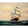 Segelschiff- handgemaltes Ölbild , gemalt nach einer Vorlage in 50x60cm