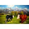 Kühe vorm Steinerne Meer in Saalfelden, handgemaltes Ölbild in 60x90cm