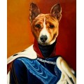 Basenji Hund im Kleid, handgemaltes Ölbild