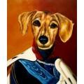 Dackel Hund im Kleid, handgemaltes Ölbild